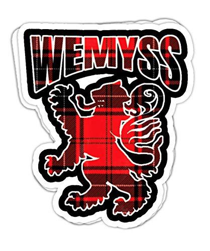 lkstore Wemyss Clan Kilt Tartan Lion Namesake Scottish Gift- 4x3 Vinyl Stickers, Laptop Decal, Water Bottle Sticker (Set of 3)
