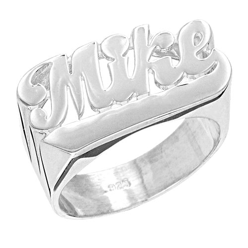 Sterling Silver Script Name Ring - 9