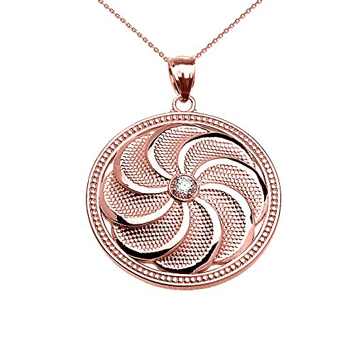 Collier Femme Pendentif 10 Ct Or Rose Bouclier Arménien Éternité Oxyde De Zirconium (Livré avec une 45cm Chaîne)