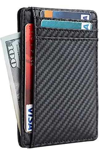 Front Pocket Minimalist Slim Wallet Genuine Leather Medium Size (Carbon Fiber Texture ()