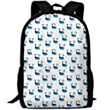 The Lovely Cetacean Swims Under The Sea Unique Outdoor Shoulders Bag Fabric Backpack Multipurpose Daypacks For Adult