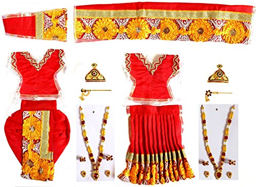 Handmade Red Colour Radha Krishna / Ram Seeta Dress and Ornaments for 4 to 6