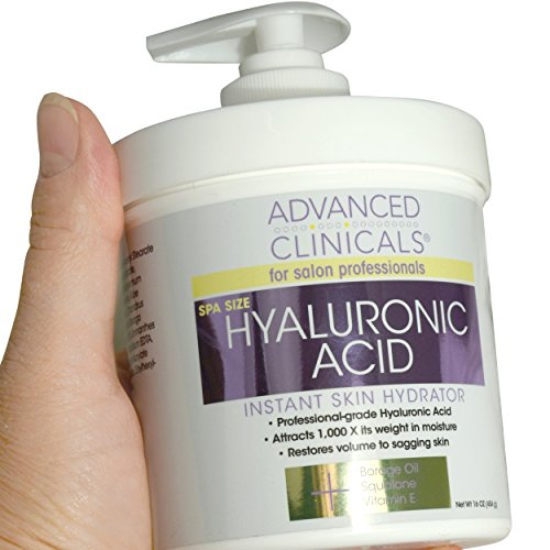 Advanced Clinicals Anti-aging Hyaluronic Acid Cream for face, body, hands. Instant hydration for skin, spa size. (16oz) (Best Makeup For Wrinkled Skin)