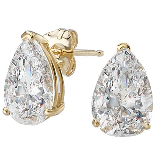14k Yellow Gold Pear-Shape CZ Solitairs Stud Earrings (2.0ctw)