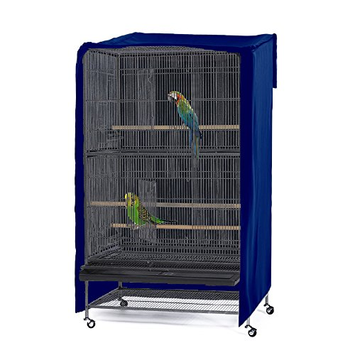 PONY DANCE Pets Product Universial Birdcage Cover Blackout & Breathable Birdcage Cover for Pets' Good Night,Large,Blue, 35