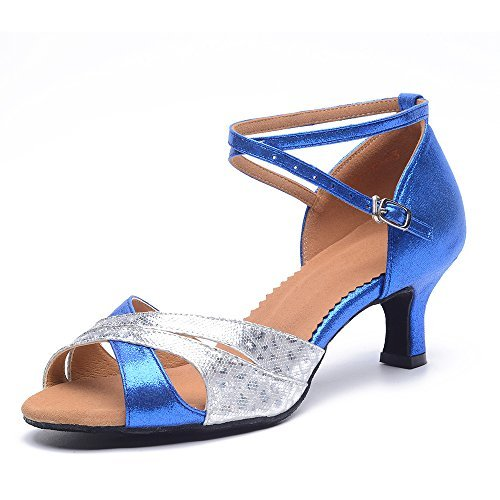 9fb9e2b0fea2c Women's Latin Dance Shoes with Soft Sole Female Latin Sandals Indoor  Ballroom Dance Shoes (7 B(M) US, blue-outdoor)