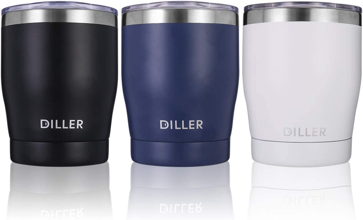 Diller Stainless Steel Tumbler with Lid, 10 oz Double Wall Vacuum Insulated Travel Mug Thermos for Women and Men for Office Outdoors Keep 6H Hot & 12H Cold (White)