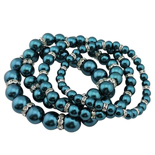 - COIRIS 4pcs /Set Imitation Pearl Bracelets Crystal Women Multi Layer (BR1113-peacock blue)