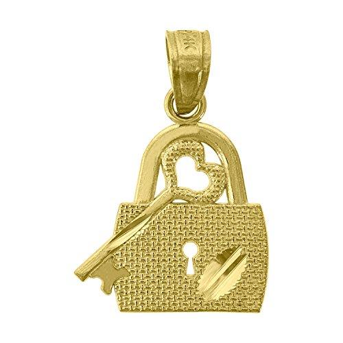 14kt Gold Womens Diamond Cut Lock Key Height 19.4mm Pendant Charm 14kt Gold Diamond Cut Charm