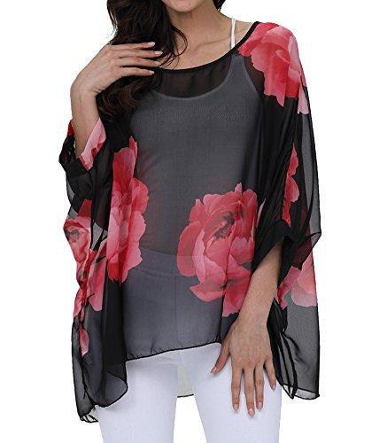 Myosotis510 Women's Chiffon Caftan Poncho Tunic Top Cover up Batwing Blouse (Z-4283)