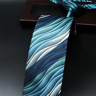 "Shlax&Wing Mens Ties Ripple Blue Multicolored Silk Green Long 57.5"" 63"" Silk"