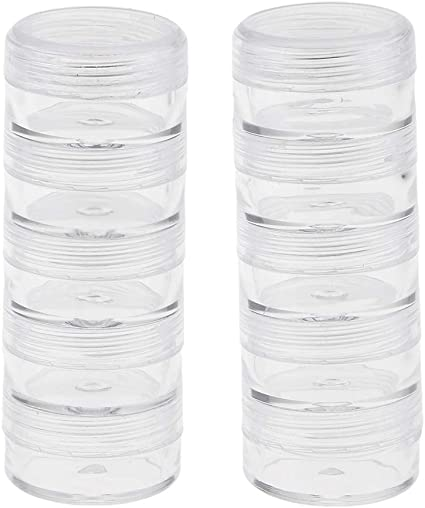 2Set Plastic Stackable Beads Containers Box Jar Pill Case Organizer Diamond