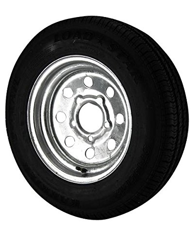 ST145/R12 Loadstar Trailer Tire LRE on 5 Bolt Galvanized Mod Wheel