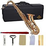 Kaizer Reliable Student Tenor Saxophone 1000 Series Standard B Flat Bb in Gold Lacquer with Included Accessories