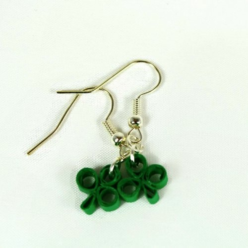 Shamrock Earrings Dangle Handmade in Chicago Illinois Girls Women St Patricks Jewelry Paper Quilling