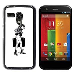 Stuss Case / Funda Carcasa protectora - Caminando Girl - B & W - Motorola Moto G 1 1ST Gen