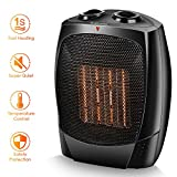 Space Heater - 1500W Electric Heater, Tip-Over & Overheat Protection for Home & Office, Adjustable Thermostat, Quiet & Portable Indoor Heater, Up to 190sq, Fast Heat Up in 3s, PTC Heating Element
