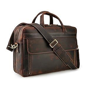 Lannsyne Timeless Vintage Genuine Leather 17 Inch Laptop Bag Shoulder Briefcases for Men