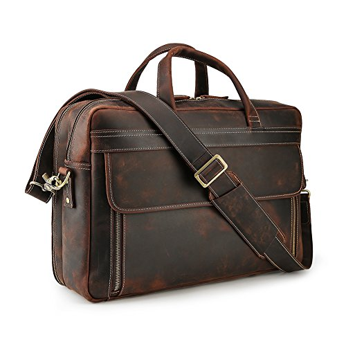 Lannsyne Vintage Genuine Leather Briefcases 17 inch Laptop Bag Messenger Cross Body Shoulder Computer Satchel (Abbreviation For Cell Phone On Business Card)