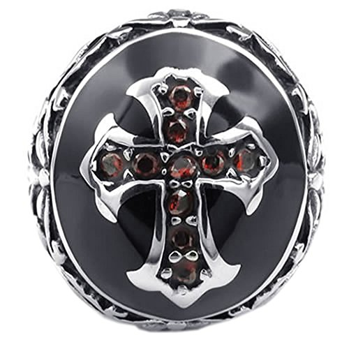 KONOV Mens Cubic Zirconia Stainless Steel Ring, Vintage Celtic Cross, Red Black, Size 10