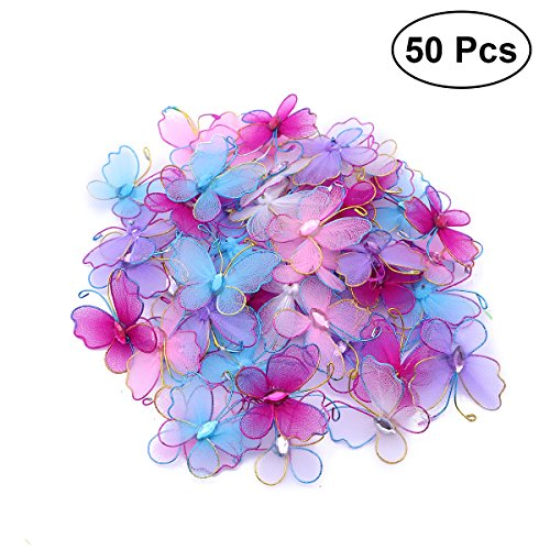 FENICAL 50pcs 3D Butterfly Wire Mesh Butterfly Wedding Home Decoration (Mixed Color)
