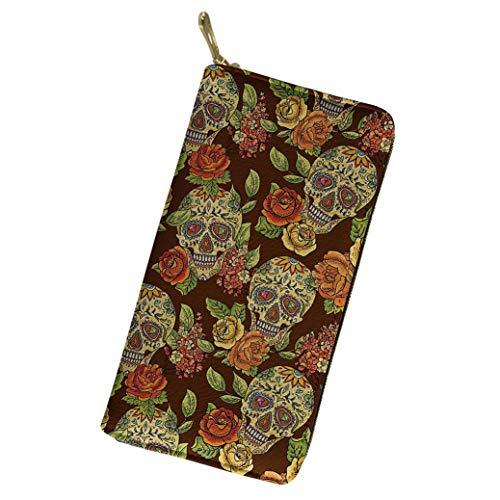 Women Long Wallet Sugar Skull Vintage Flowers Clutch Purse Boho Style Leather Card Holder -