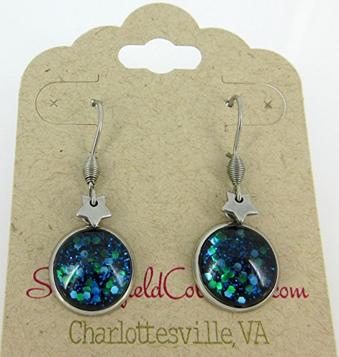 Surgical Steel Blue Green Glitter Glass Star Charm Galaxy Dangle Earrings Hand-painted