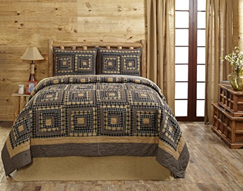 Smokey Cabin King Quilt Set (Cabin Log Primitive)