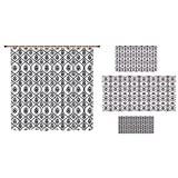 Bathroom 4 Piece Set Shower curtain floor mat bath towel 3d print,Geometric,Oriental Middle Eastern Civilizations Inspired Floral Rope Frame Design Decorative,Dark Blue White,Picture Print Design.