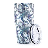Pandaria 30 oz Stainless Steel Vacuum Insulated Tumbler with Lid - Double Wall Travel Mug Water Coffee Cup for Ice Drink & Hot Beverage, Blue & White Porcelain