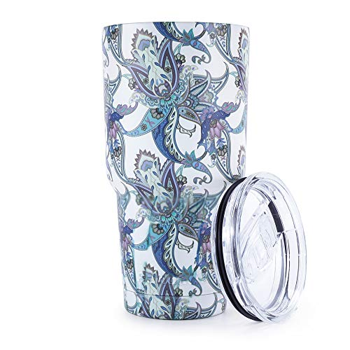 Ice Blue Porcelain - Pandaria 30 oz Stainless Steel Vacuum Insulated Tumbler with Lid - Double Wall Travel Mug Water Coffee Cup for Ice Drink & Hot Beverage, Blue & White Porcelain