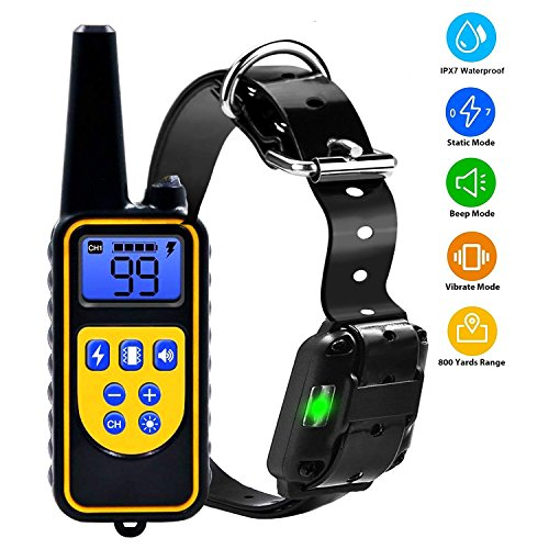 YISENCE Shock Collar for Dogs Dog Shock Collar for Large Dogs Or Small Dogs IPX7 Dog Training Collar with Remote 2500FT, Beep, 99 Levels Vibrate and Shock, Waterproof LCD Display USB Charging