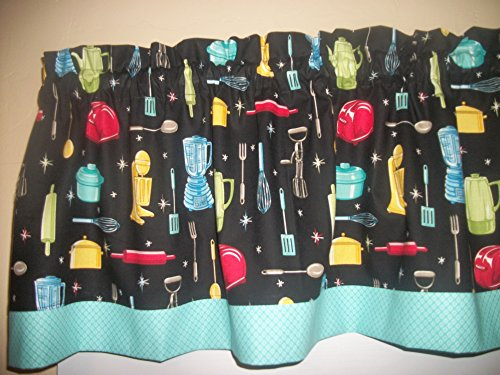 Retro Vintage Kitchen Appliances Baking Diamond Teal fabric curtain Valance