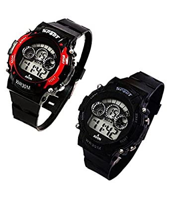 "Capture Fashionâ""¢- Black, Red Sport Watch with Seven Lights and Seven Colour, Week Display in Round Dail - Women/Men/Kids - Best Return Gift"