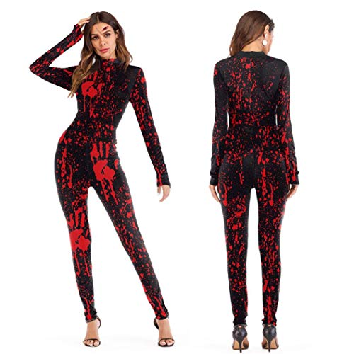 XILALU Novelty Halloween Jumpsuit Womens, Scary 3D Skull Skeleton Viscera Blood Print Party Costume Performance Outfits ()