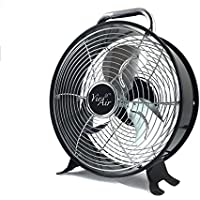 Vie Air High Velocity Powerful and Quiet Dual Speed Sleek Design Durable Metal Drum Fan, 12 W