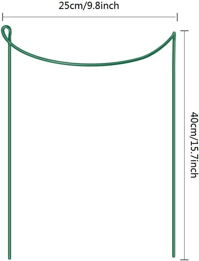 Piquets de Soutien en M/étal pour Jardin Plants Pivoines Hortensias Rose DEDC 4 Anneaux de Soutien pour Plantes /à Tige Simple 45cm