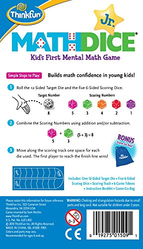 Large Product Image of ThinkFun Math Dice Junior Game for Boys and Girls Age 6 and Up - Teachers Favorite and Toy of the Year Nominee