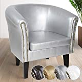 Chesterfield Armchair - from Faux Leather in Classic Design with Copper Details, with Choice of Colour and Set - Stylish Tub Chair For Living Room, Office, Lounge (1 Piece, Silver)