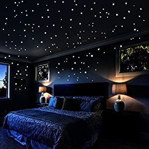 Glow In The Dark Stars Wall Stickers, 730 pcs Dots and Moon for The Galaxy, Gifts For Kids Bedding Room or Birthday, Wall Decals by Airbin, Lighten The Love of Your Heart
