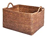 Artifacts Rattan Basket, 16'' L x 13'' W x 11'' H