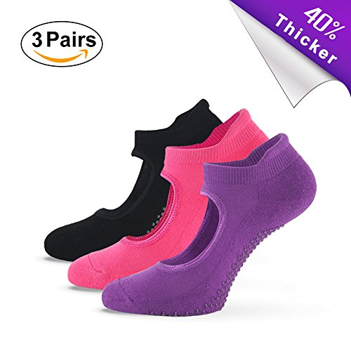 Fitglam Yoga Socks for Women – Best Grip Non-Slip Cotton Socks for Barre Pilates and Ballet