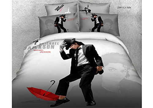 Buygeek Bedding Sets Queen Size,fashion 3d Bedding Set Print Reactive,100% Cotton High Thread Count,home Textile Bedding Set Sale,4 Pcs Bedding Set,duvet Cover Bedding Quilt Cover,flat Cover,pillowcases,bedding Set Collection-michael Jackson Michael Jackson Covers