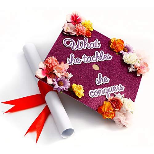 GradWYSE Handmade Graduation Cap Topper Graduation Gifts Graduation Cap Decorations, What She Tackles She Conquers Purple -