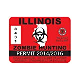 Red Illinois Zombie Hunting Permit Sticker Die Cut Decal Self Adhesive Vinyl FA Vinyl