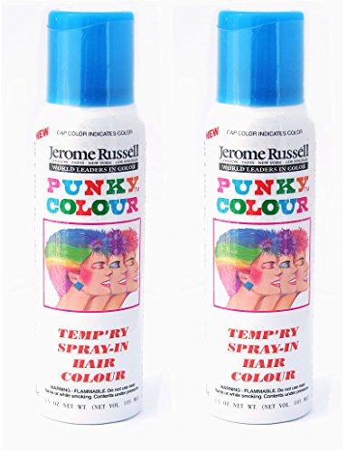 Jerome Russell Punky Color Temp'ry Spray-In Hair Colour SKY BLUE TWO PACK - Clean, Easy Washes Out - 2 x 3.5 oz Temporary Hair Color -