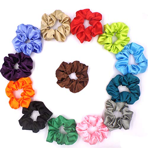 Satin Scrunchies, 13 Colors Large Scrunchies Elastics Hair Bobbles Ponytail Holder Hair Scrunchy Vintage Hair Bands Ties for Women and -