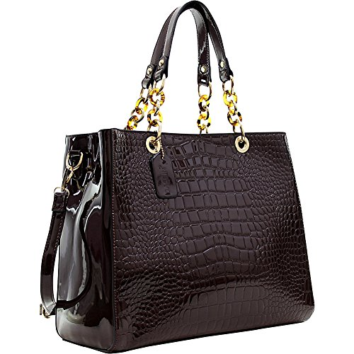 Dasein Patent Croco Embossed Faux Leather Chain Strap Satchel (Coffee) ()
