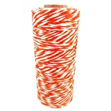 8ply Cotton Bakers butchers Divine Twine, 135 Meter Length Spool / Roll, Craft String - Orenge+White