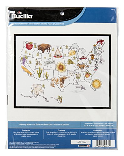 Bucilla Counted Cross Stitch Kit, 13 by 10-Inch, 46474 State by (Simply Stitched Embroidery Kit)